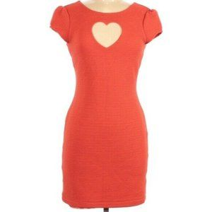 Cooperative Orange Heart Cut Out Sheath Dress M